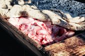 foto of slaughter  - Wooden trough full of meat ready to be grinded - JPG