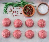 stock photo of meatball  - Raw meatballs fresh meat on the table - JPG
