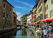 stock photo of annecy  - The photo of a canal in Annecy - JPG