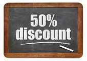 foto of fifties  - fifty percent discount sign  - JPG
