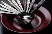 picture of marsala  - abundance of spoons in marsala color plate on black table - JPG