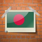 picture of bangladesh  - Flags of Bangladesh scotch taped to a red brick wall - JPG