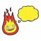 image of fireball  - cartoon friendly fireball with thought bubble - JPG