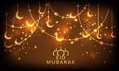 stock photo of allah  - Beautiful greeting card design with golden crescent moon and star on shiny brown background for Muslim community festival - JPG
