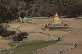stock photo of sherpa  - Old stupa and fields in Phortse - JPG