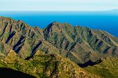 picture of atlantic ocean  - Coast or shore of Atlantic ocean with mountain or rock and sky with horizon in Tenerife Canary island Spain at spring or summer - JPG