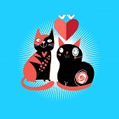 stock photo of enamored  - graphic enamored cats with heart on a blue background - JPG