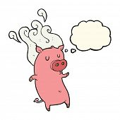 stock photo of smelly  - smelly cartoon pig with thought bubble - JPG