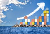 pic of barter  - Shipping containers standing at a dock growing like a graph - JPG