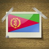 image of eritrea  - Flags of Eritrea at frame on a brick background - JPG