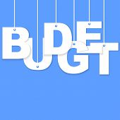 pic of budget  - 3d Budget paper cut word hanging with strings - JPG