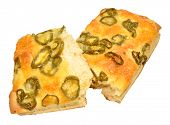 picture of fiery  - Cheese and fiery jalapeno pepper focaccia bread isolated on a white background - JPG
