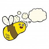 stock photo of bee cartoon  - cartoon bee with thought bubble - JPG