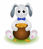 image of pot gold  - Cartoon Rabbit Sits with a Pot of Gold Coins - JPG
