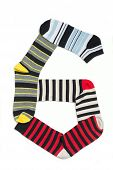 stock photo of numbers counting  - Number six made from socks in lines - JPG