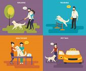 stock photo of medical exam  - Family with pet concept flat icons set of walking in the park - JPG