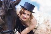picture of horse girl  - Beautiful girl in vintage dress and her horse - JPG