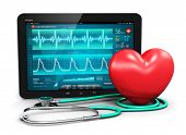 picture of cardiology  - Tablet computer PC with cardiological diagnostic test software on screen - JPG