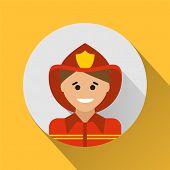 picture of firemen  - Fireman icon on a yellow background - JPG