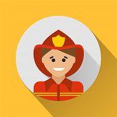 image of fireman  - Fireman icon on a yellow background - JPG