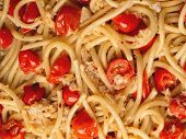 pic of cooked crab  - close up of italian crab and cherry tomato spaghetti pasta food background - JPG