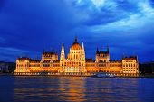 picture of hungarian  - Hungarian Parliament Building on the bank of the Danube in Budapest by night - JPG