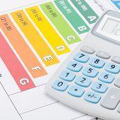 stock photo of fuel efficiency  - Energy efficiency chart and calculator  - JPG