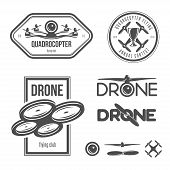 Vector set of drone flying club labels, badges, design elements. poster