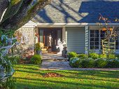 image of fall decorations  - Halloween decorations on the house entrance in the fall  - JPG
