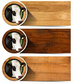 stock photo of cow head  - Three horizontal wooden banners with space for text head of cow inside a circle - JPG