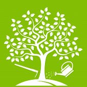 stock photo of hoe  - vector tree with hoe and watering can isolated on green background - JPG