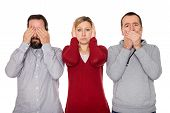 pic of wise  - two men and a woman shows the three wise Monkeys - JPG