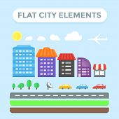stock photo of foundation  - Colorful flat city elements set for creating city illustration or a map - JPG