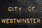 stock photo of prime-minister  - City of Westminster embossed in gold lettering - JPG