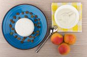 picture of curd  - Granular curd and raisins in blue plate sour cream and peaches on table top view - JPG