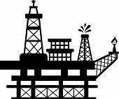 picture of rig  - Silhouette of an oil rig which one of the towers spills oil while the other burns gas - JPG
