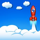 picture of spaceships  - illustration of red spaceship flying up in the sky - JPG