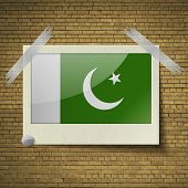 picture of pakistani flag  - Flags of Pakistan at frame on a brick background - JPG