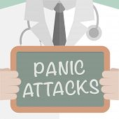 picture of panic  - minimalistic illustration of a doctor holding a blackboard with Panic Attacks text - JPG