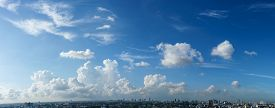 picture of cloudy  - Blue sky and white cloud over the cityscape cloudy sky Panorama - JPG