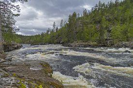 pic of murmansk  - Rapids on Kutsayoki river on a nasty day - JPG