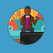 African-american happy gamer playing video game on the television. An excited man with console in ha poster