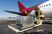 image of loading dock  - Loading platform of air freight to the aircraft - JPG