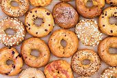 Assorted Bagels In A Full Frame Background poster