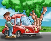 picture of beetle car  - A man looking his car near to a tree - JPG