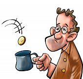 picture of beggar  - a beggar getting some coin in his mug - JPG