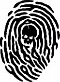 picture of dna fingerprinting  - A finger print has a skull in the middle of it - JPG