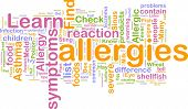 image of rhinitis  - Word cloud concept illustration of  allergies symptoms - JPG