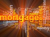 Word cloud concept illustration of  house mortgage glowing light effect