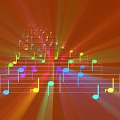 foto of nursery rhyme  - Colorful notes sheet music cheerful musical concept background illustration glowing light - JPG